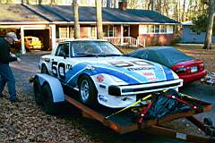 RX-7 on trailer